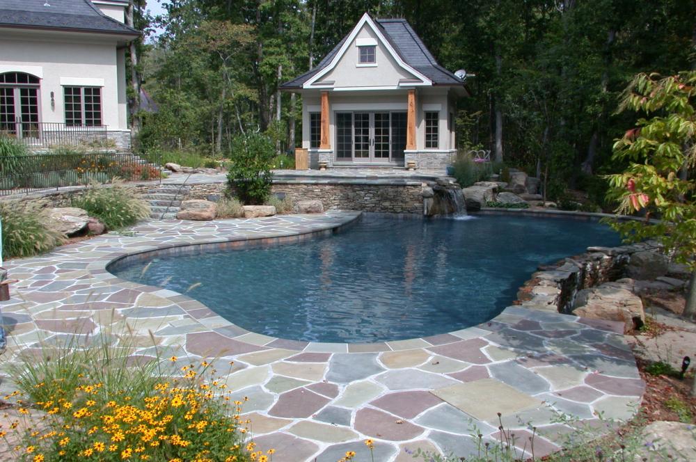 Mountain Lake Swimming Pool. Waterfall Into Swimming Pool